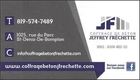 COFFRAGE DE BÉTON JEFFREY FRÉCHETTE INC