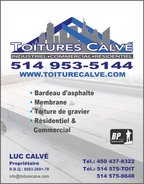 Carte d'affaire de TOITURES CALVÉ 9413-5514 QUÉBEC INC