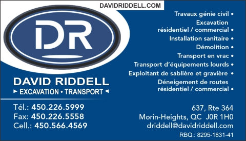 Carte d'affaire de DAVID RIDDELL EXCAVATION TRANSPORT