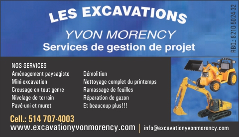 Carte d'affaire de EXCAVATION YVON MORENCY ENR
